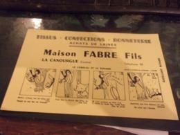 BUVARD MAISON FABRE TISSUS à LA CANOURGUE (LOZERE) FABLES LA FONTAINE LE CORBEAU ET LE RENARD - Textilos & Vestidos