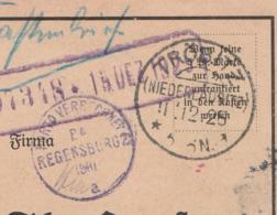 Deutsches Reich Karte Mit Tagesstempel Tröbitz Niederlausitz 1925 Mit Porto Verrechnung PA Regensburg 2 BH A KOS Stempel - Cartas
