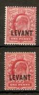 BRITISH LEVANT 1905 1d SCARLET AND 1d BRIGHT SCARLET SG L2, L2a MOUNTED MINT Cat £28 - Levant Britannique