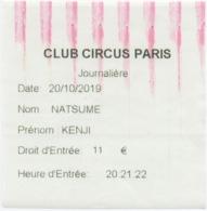 Entrée Casino Journalière : Club Circus Paris (Ouverture 09/09/2019) 11€ - Oude Documenten