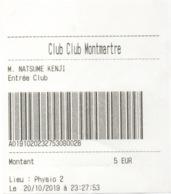 Entrée Casino Journalière : Club Montmartre Paris (Ouverture 23/08/2019) 5€ - Oude Documenten