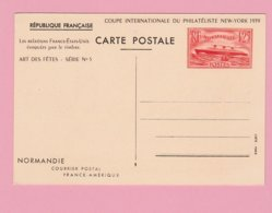 FR.31   Entier Postal CP Paquebot Normandie  1,25 Rouge   à New-York  1939 ** - Entiers Postaux