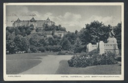 """T92.""""Karlsbad. Hotel Imperial Und Das Beethoven-Denkmal"""" Nach 1942 Karsbad Ratibor. Sonderstornierung. Drittes Reich. - Covers & Documents"""