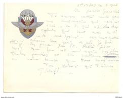 Rareté. Carton à En Tête Du 7ème Bataillon Colonial De Commandos Parachutistes (A3p1) - Documentos