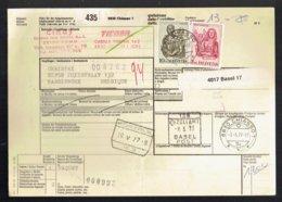 Bulletin D'expédition International - Chiasso Suisse Vers Harelbeke Belgique 1977 - Obl Kortrijk - Basel Post - Chemins De Fer
