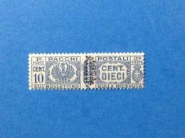 1945 ITALIA LUOGOTENENZA FRANCOBOLLO NUOVO STAMP NEW MNH** 10 CENT PACCHI POSTALI CON SOPRASTAMPA FREGIO - Pacchi Postali
