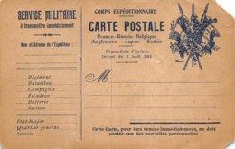 PIE-Z To-19-2633 : CARTE FRANCHISE MILITAIRE. CORPS EXPEDITIONNAIRE. FRANCE RUSSIE BELGIQUE ANGLETERRE SERBIE JAPON. - Marcofilia (sobres)