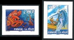 POLYNESIE 2011 - Yv. 951 Et 952 **   Faciale= 2,02 EUR - Humour. La Pêche (2 Val.) (Autoadhésifs)  ..Réf.POL24901 - Polynésie Française