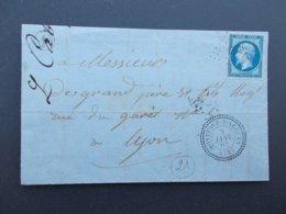 MARQUE POSTALE.VAR.CACHET MONTFORT -S-ARGENS.DE CARCES.TIMBRE EMPIRE.PC 4390.1862. - 1849-1876: Klassik