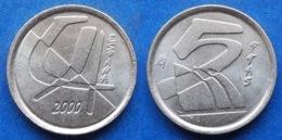 SPAIN - 5 Pesetas 2000 KM# 833 Juan Carlos I (1975-2014) - Edelweiss Coins - Andere