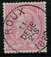 [103824]TB//O/Used-N° 46, 10c Rose Sur Bleuté, S.M. Le Roi Léopold II, Oblitération 'ROUX'. - 1884-1891 Leopold II