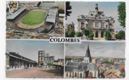 COLOMBES EN 1957 - N° 868 - MULTIVUES AVEC LE STADE CLICHE AERIEN R. HENRARD - LEGERS PLIS A DROITE - FORMAT CPA VOYAGEE - Colombes