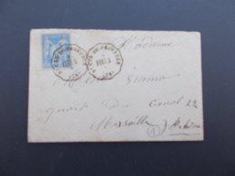 MARQUE POSTALE.VAR.POSTE FERROVIAIRE.ENVELOPPE.VINTIMILLE MARSELLE.ST CYR DE PROVENCE.1877. - 1849-1876: Klassik