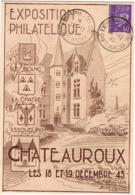 Exposition Philatélique Châteauroux 1943 / Carte Numérotée, Tirage Limité à 2000 - Filatelistische Tentoonstellingen