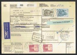 Bulletin D'expédition International - Geneve Suisse Vers Kortrijk Belgique 1977 - Obl Kortrijk - Geneve Aéroport - Chemins De Fer