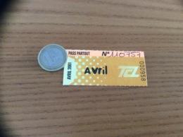 """Ticket De Transport (Bus, Métro, Tramway) TCL Abonnement """"Avril 2001 - PASS PARTOUT"""" LYON (69) - Bus"""
