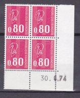 N° 1816  Type Marianne De Brequet: Bloc De 4 Timbres  Neuf Impeccable Coins Datés 30.8.74 - Esquina Con Fecha