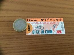 """Ticket De Transport (Bus, Métro, Tramway) TCL Abonnement """"MAI 97 - CIGOGNE - BIKE IN LYON (VTT, Vélo)"""" LYON (69) - Autobus"""