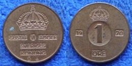 SWEDEN - 1 öre 1970 U KM# 820 Gustav VI Adolf (1950-73) Bronze - Edelweiss Coins - Suecia