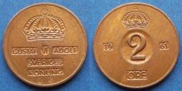 SWEDEN - 2 öre 1961 TS KM# 821 Gustav VI Adolf (1950-73) Bronze - Edelweiss Coins - Schweden