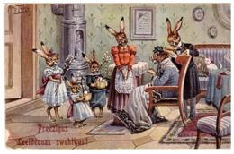 Dressed Easter Rabbits Thiele Germany TSN Vintage 1915 Postcard - Thiele, Arthur