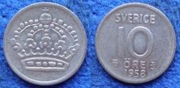 SWEDEN - Silver 10 öre 1958 TS KM#845 Gustav VI Adolf (1950-73) - Edelweiss Coins - Suecia