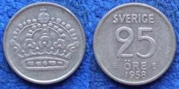 SWEDEN - Silver 25 öre 1958 TS KM# 824 Gustav VI Adolf 1950-73 - Edelweiss Coins - Schweden