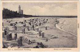 Kolberg Kołobrzeg Strand Mit Lotsenstation - Strandkörbe 1937  - Polen