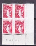 N° 2102 Type Sabine Un Bloc De 4 Timbres Neuf Impeccable Coins Datés 6.1.81 - 1980-1989