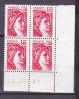 N° 2102 Type Sabine Un Bloc De 4 Timbres Neuf Impeccable Coins Datés 12.3.81 - 1980-1989