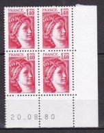 N° 2102 Type Sabine Un Bloc De 4 Timbres Neuf Impeccable Coins Datés 20.8.80 - Esquina Con Fecha