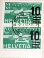 """Schweiz Suisse 1935: Aufdruck """"10="""" (BRILLANT) :Zu Flug 20a Mi 286a Yv PA 20 Paar Mit O SONVILLIER 2-II-35 (Zu CHF 2.00) - Used Stamps"""