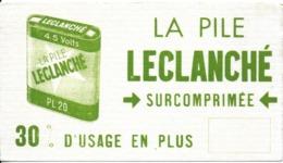 BUVARD BLOTTING PAPER PILES ÉLECTRIQUES LECLANCHE SURCOMPRIMEE COULEUR VERTE - Piles