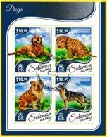 Bloc Feuillet Oblitéré - Chiens Golden Retriever Shar-Peï Puppy British Bulldog Siberian Husky - Îles Salomon 2017 - Salomon (Iles 1978-...)