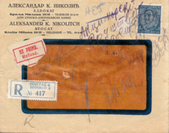 "REGISTERED LETTER WITH ""REFUSE"" LABEL ,RETOUR , ZURUCK - 1931-1941 Royaume De Yougoslavie"