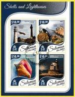Bloc Feuillet Oblitéré De 4 Timbres-poste - Shells And Lighthouses Coquillages Et Phares - Îles Salomon 2017 - Salomon (Iles 1978-...)