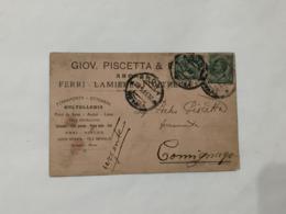 CARTOLINA COMMERCIALE PISCETTA ARONA FERRAMENTA OTTONAMI VS COMIGNAGA 1913. - Altri