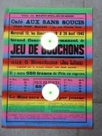 1945 Saint-Pol-sur-Mer Dunkerque Affiche Pour JEU DE BOUCHONS Café Aux Sans Soucis Chez Marcel Hof / RARE - Plakate