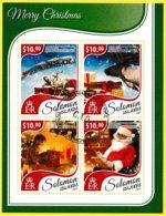 Bloc Feuillet Oblitéré De 4 Timbres-poste - Merry Christmas Joyeux Noël - Îles Salomon 2017 - Salomon (Iles 1978-...)