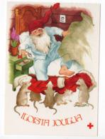 MODERN POSTCARD - ARTIST SIGNED:  INGE LÖÖK - GNOME / SANTA CLAUS - RATS - USED 1985  Finland - Navidad