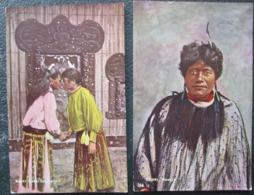 New Zeland Lot 2 Cpa Women Maori Timbrées Et Voyagées 1906 Nouvelle Zelande - New Zealand