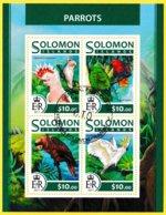 Bloc Feuillet Oblitéré De 4 Timbres-poste - Parrots Perroquets - Îles Salomon 2017 - Salomon (Iles 1978-...)