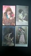 Lot De 35 Cartes Postales Fantaisie - Lot Van 35 Postkaarten Fantasie Femmes - Vrouwen - Ladies . Toutes Scannées . - Cartes Postales