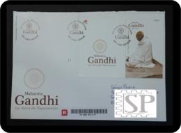 Portugal 2019 Mini Feuille FDCB 150 Anos Mahatma Gandhi Timbre Khadi Tissu Fabriqué à Main Fibres Natural FDC Minisheet - Mahatma Gandhi