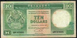 HONG-KONG P191c 10 DOLLARS 1.1.1991  #GM   VF NO P.h. - Hong Kong