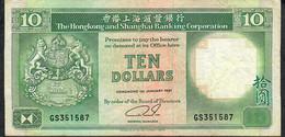 HONG-KONG P191c 10 DOLLARS 1.1.1991  #GS   VF NO P.h. - Hong Kong