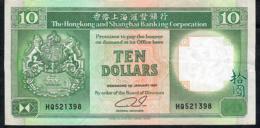 HONG-KONG P191c 10 DOLLARS 1.1.1991  #HQ   VF NO P.h. - Hong Kong