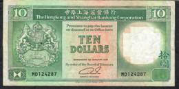 HONG-KONG P191c 10 DOLLARS 1.1.1991  #MD   VF NO P.h. - Hong Kong