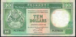 HONG-KONG P191c 10 DOLLARS 1.1.1992  #PL   VF NO P.h. - Hong Kong