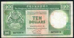 HONG-KONG P191c 10 DOLLARS 1.1.1992  #QW   VF NO P.h. - Hong Kong